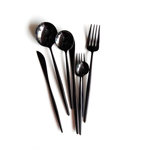 Cutipol-Moon-Mirror-Black-cutlery-dinnerware-sets-dinner-spoon-and-fork-dessert-spoon-and-fork-fruit
