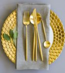 Buy Cutipol Moon Matt Gold Cutlery Set - 24 Piece | Amara for Cutipol Gold Flatware - Pets-show.Com